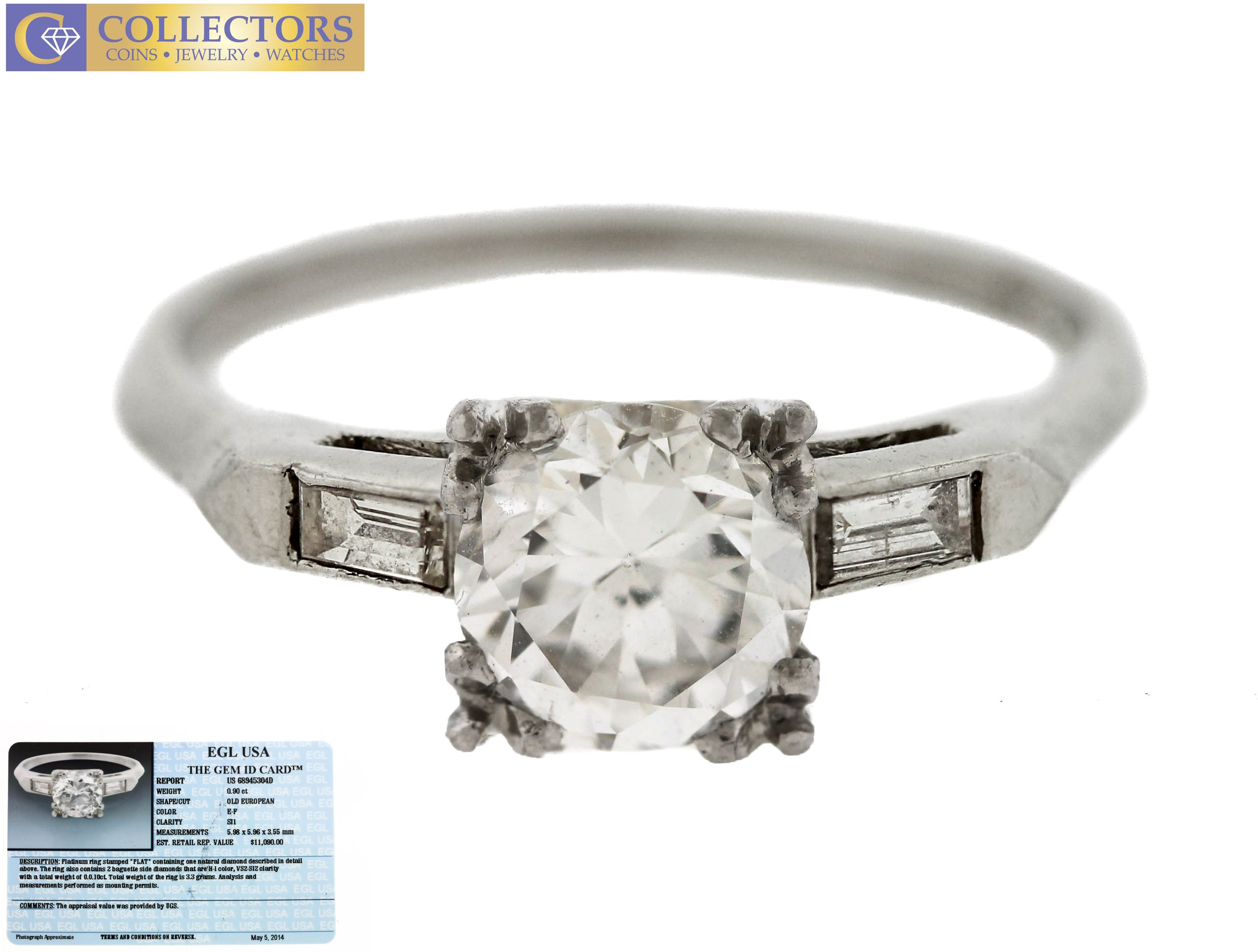 Lovely Ladies Estate Platinum 1.00ctw Diamond Engagement Ring EGL USA