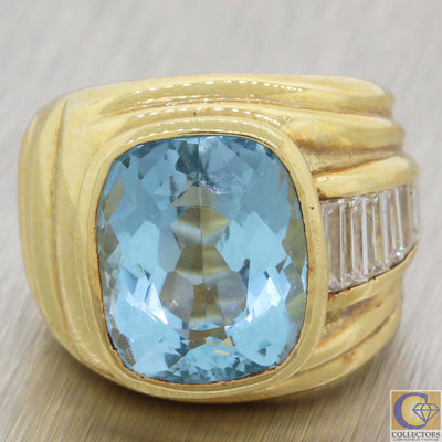 Vintage Estate 18k Yellow Gold 12.25ctw Aquamarine Diamond Cocktail Ring A8
