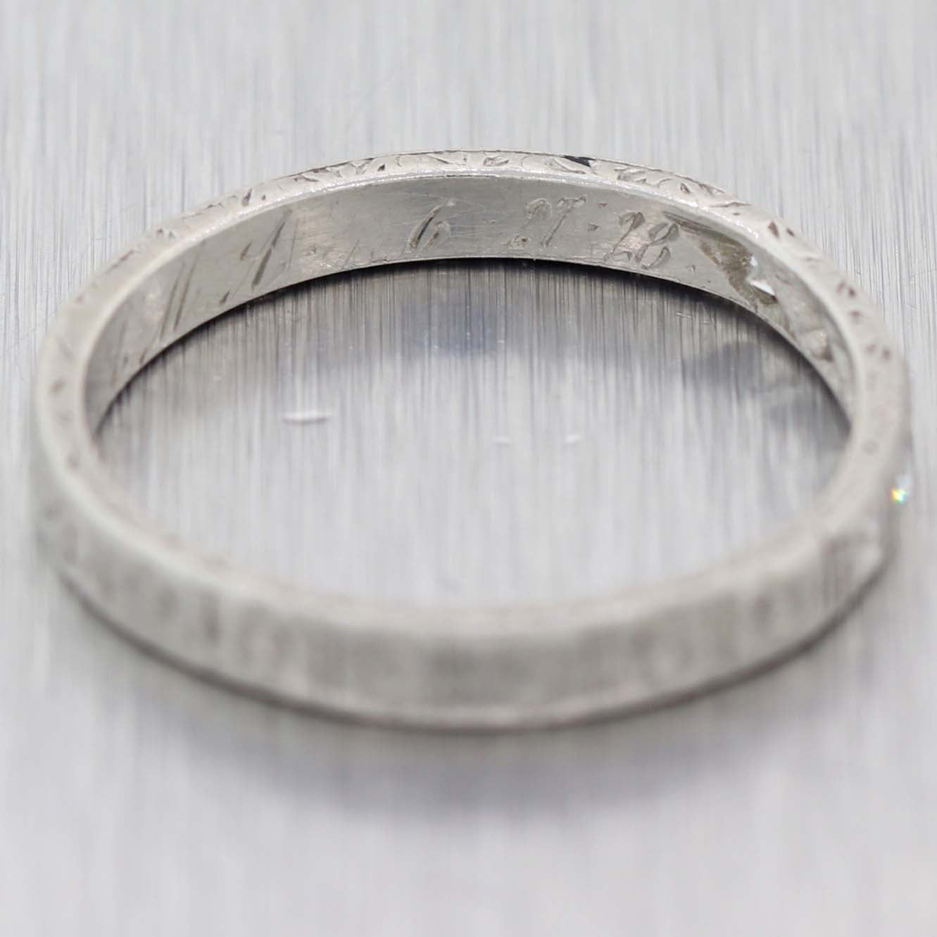 1920s Antique Art Deco Platinum .10ctw Diamond 2mm Stackable Wedding Band Ring