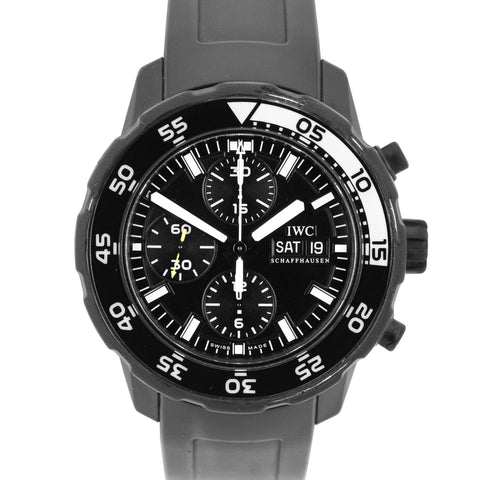 IWC Aquatimer 44mm Black Galapagos Islands Edition Chronograph Watch IW376705