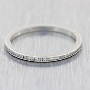 1930s Antique Art Deco Platinum .25ctw Diamond Thin Stackable Wedding Band Ring