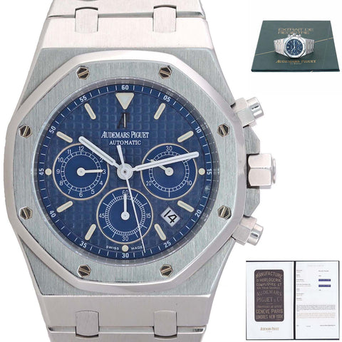 PAPERS Audemars Piguet Royal Oak Chrono 39mm Blue 25860ST.OO.1110ST.01 Watch