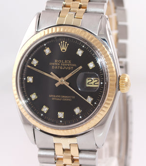 Rolex DateJust 1603 Steel Black Diamond Date Fluted 36mm Two Tone Gold Watch Box