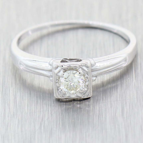 1930s Antique Art Deco 14k White Gold .25ctw Solitaire Diamond Engagement Ring