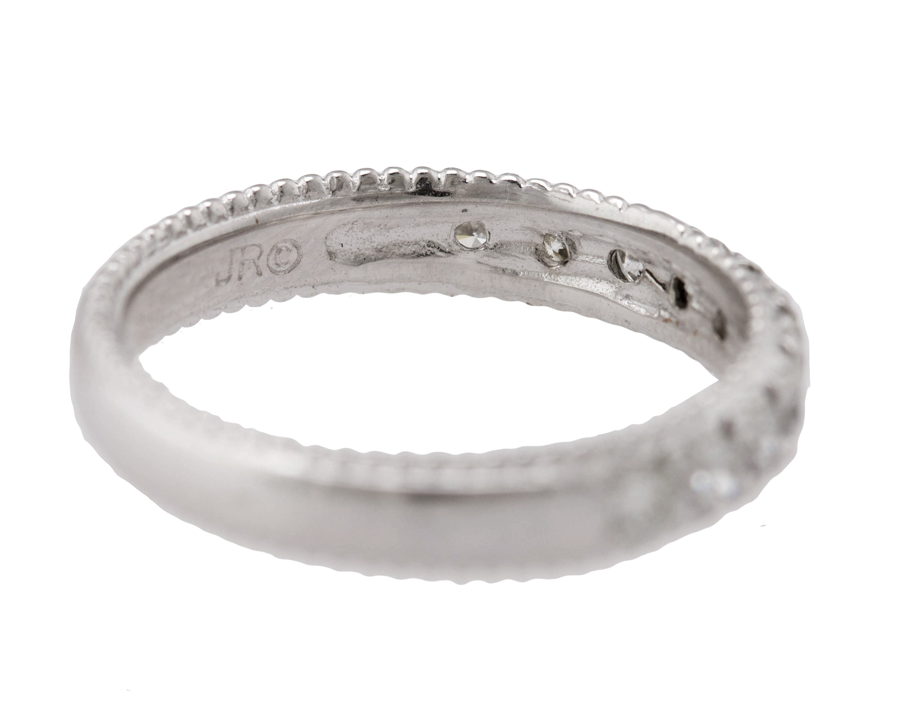 Ladies 14K White Gold 0.60ctw Diamond Stackable Wedding Anniversary Band Ring