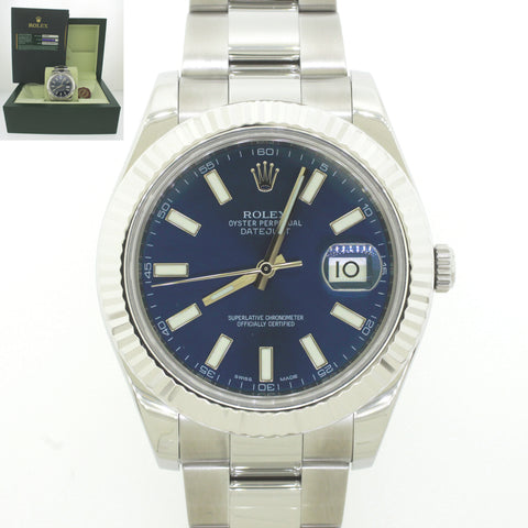 2011 Rolex DateJust II 18k Gold Steel Navy Blue Index 41mm 116334 Watch B&P