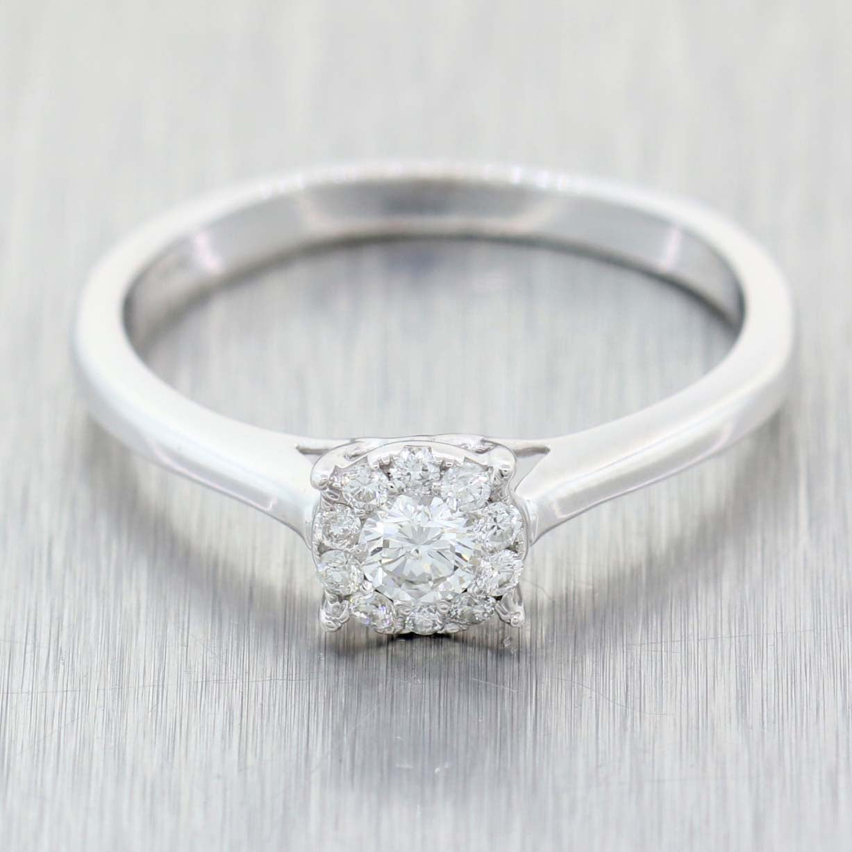 Ladies Modern Solid 14k White Gold .25ctw Diamond Halo Engagement Ring