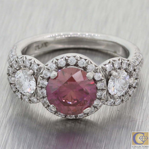 Modern Platinum 2.48ctw Deep Purple Pink Diamond Halo Engagement Ring A8 GIA