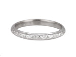 1930's Antique Art Deco 18K White Gold Floral Etched Eternity Wedding Band Ring