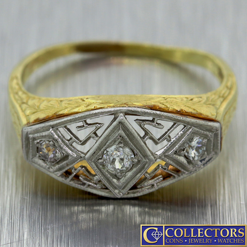 1930s Antique Art Deco Estate 14k Yellow Gold .15ctw Diamond 3 Stone Ring C8