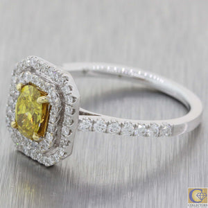 Modern 18k White Gold 1.12ctw Fancy Yellow Diamond Halo Engagement Ring A8