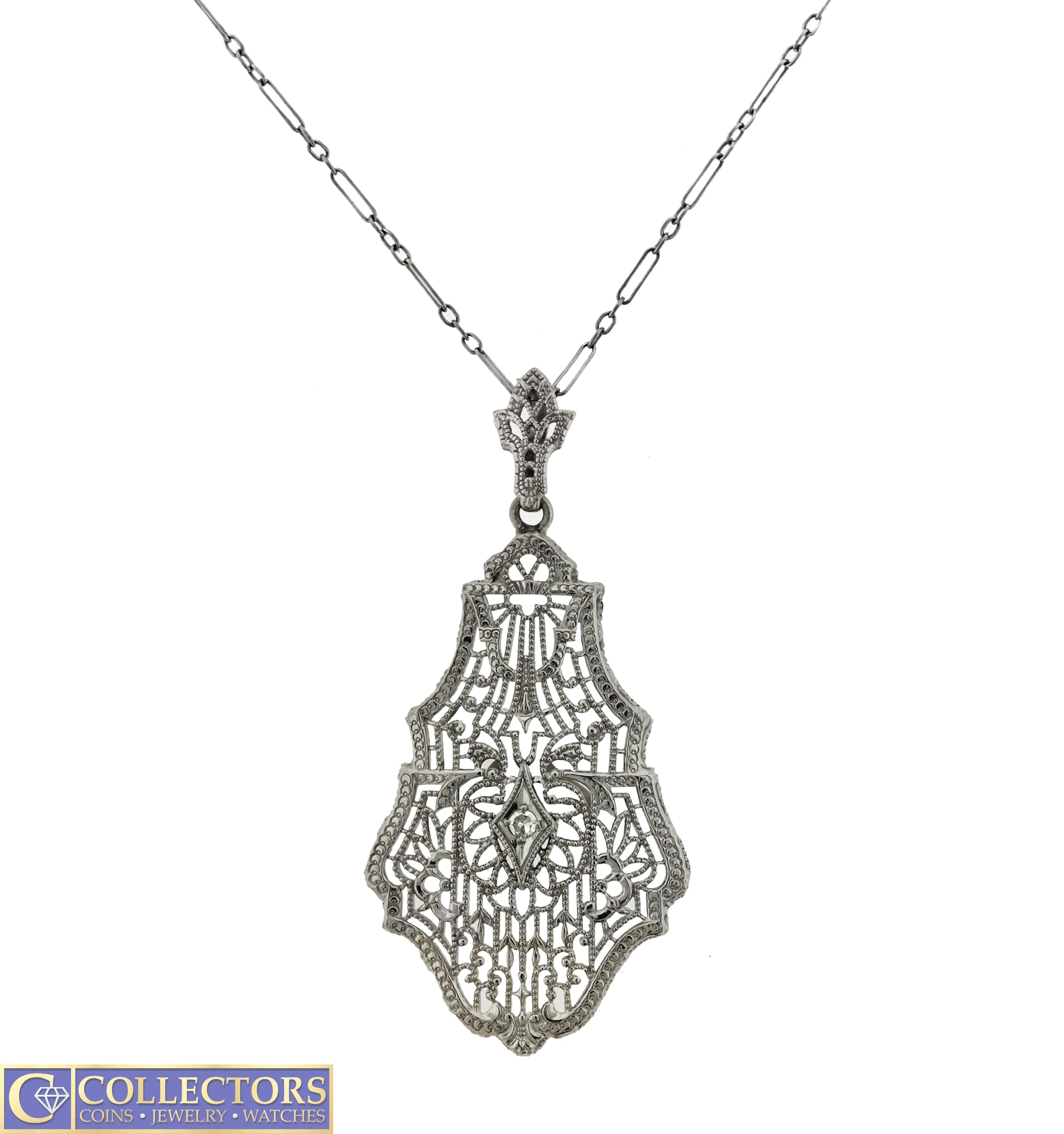 Ladies Antique Art Deco Estate 10K White Gold 0.02ct Diamond Filigree Necklace