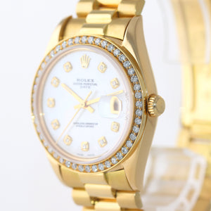 Rolex Date 1500 34mm Solid 14k Yellow Gold President MOP Diamond Bezel Watch