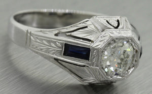 $9,000 Art Deco Estate 18K Gold 1.06ct Diamond Sapphire Engagement Ring EGL USA