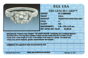 Ladies Antique Art Deco Platinum 0.95ctw Diamond Engagement Ring VS2 EGL USA