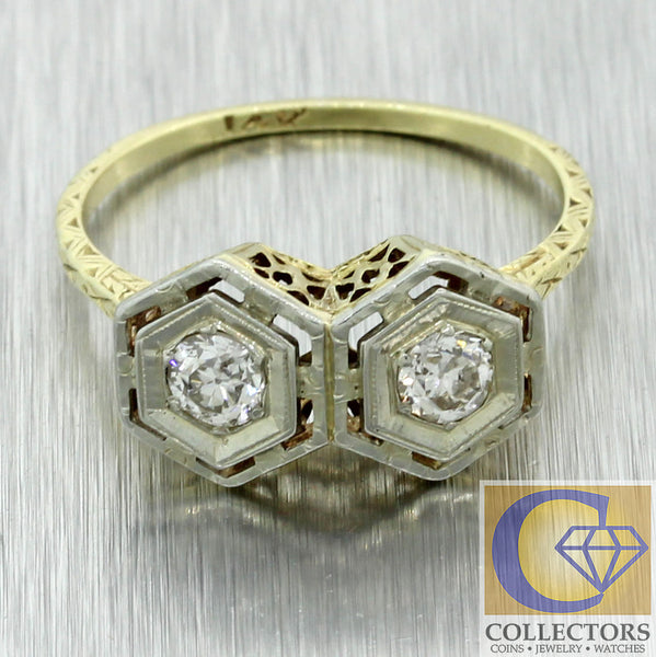 1880 Antique Victorian Filigree 14k Yellow Gold Platinum .40ctw Diamond Ring