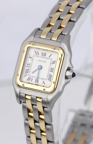 Ladies Cartier Panthere Two Tone Gold Two Row Ivory 22mm Quartz Watch 112000R