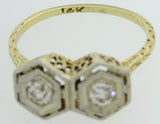 1880s Antique Victorian Filigree 14k Yellow Gold Platinum .40ctw Diamond Ring