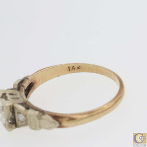 1930s Antique Art Deco 14k Gold .50ctw Old European Diamond Engagement Ring A8