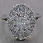 Vintage Estate 14k White Gold 1.40ctw Diamond Engagement Ring