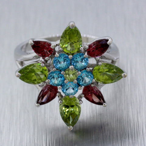 Vintage Estate 18k Solid White Gold Amethyst Peridot Topaz Flower Ring