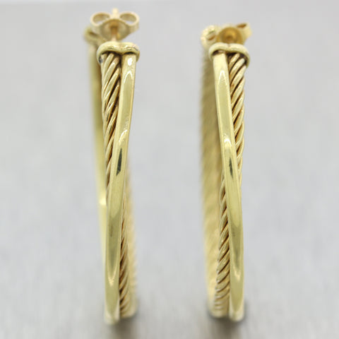 David Yurman 18k Yellow Gold Crossover Collection Cable Hoop Earrings