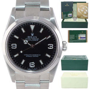 2007 PAPERS Rolex Explorer I Black 36mm 114270 Steel Black Arabic Watch REHAUT