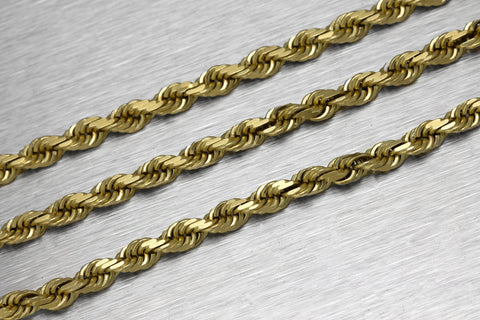 "Men's Modern 14K 585 Yellow Gold 4mm Rope Chain 22.75"" Necklace 49.6gr"