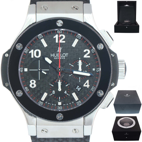 MINT Hublot Big Bang Steel 301.SB.131.RX Black Ceramic Carbon Fiber 44mm Watch