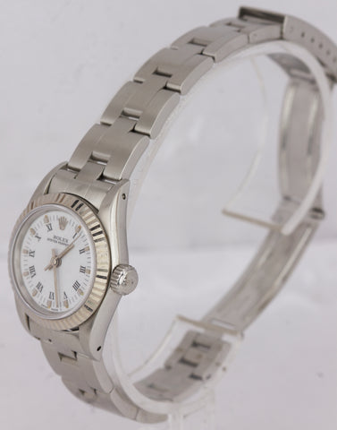 Mint Ladies Rolex Oyster Perpetual Fluted White Roman 24mm Oyster Watch 67194