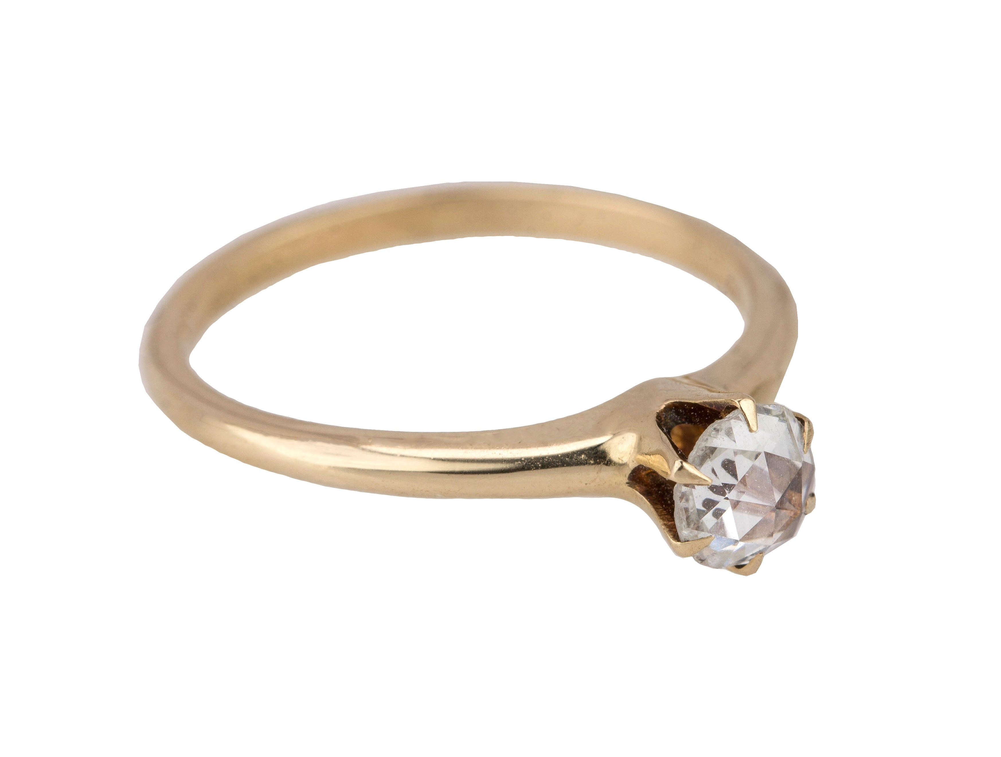 Ladies Antique Victorian 14K Yellow Gold 0.70CT Rose Cut Diamond Engagement Ring