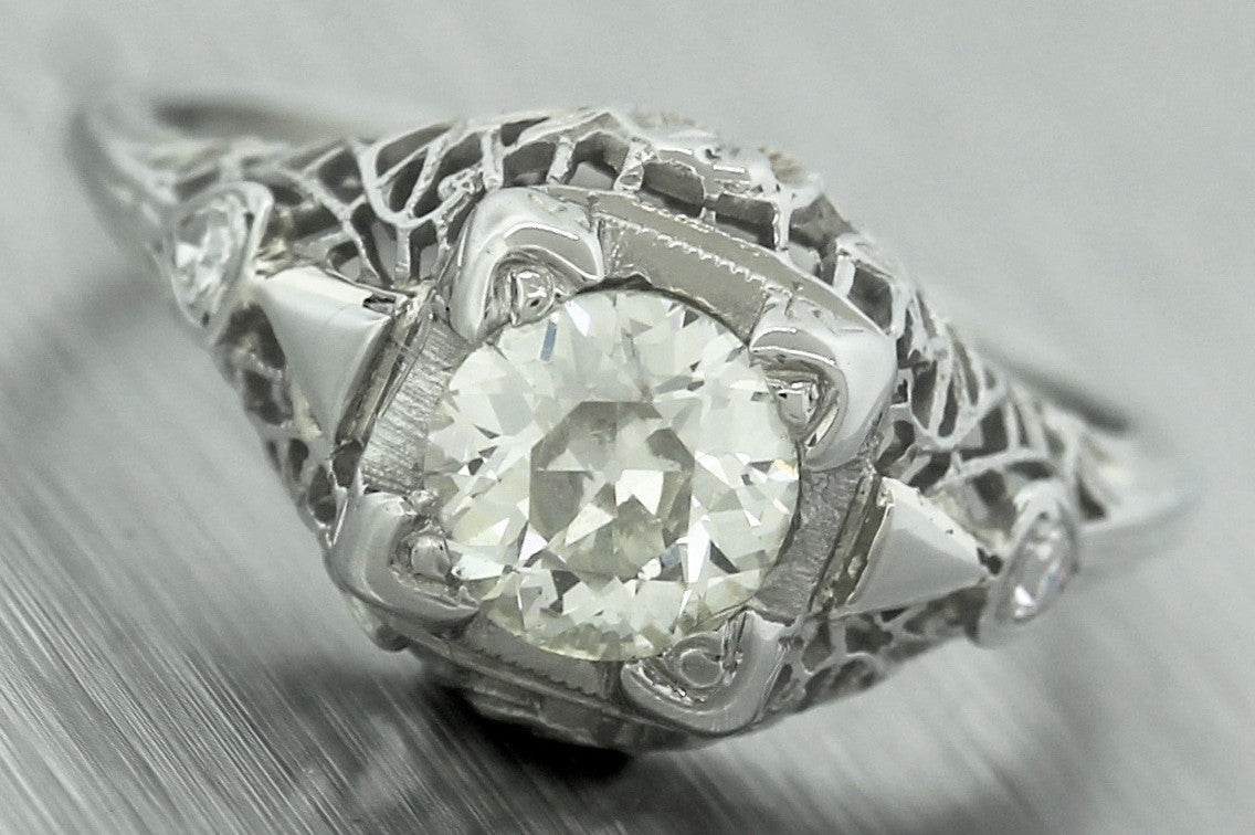 Antique Art Deco 18K White Gold Filigree 0.88ctw Diamond Engagement Ring EGL USA