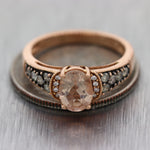 LeVian 14k Rose Gold 1.13ctw Morganite & Chocolate Diamond Ring