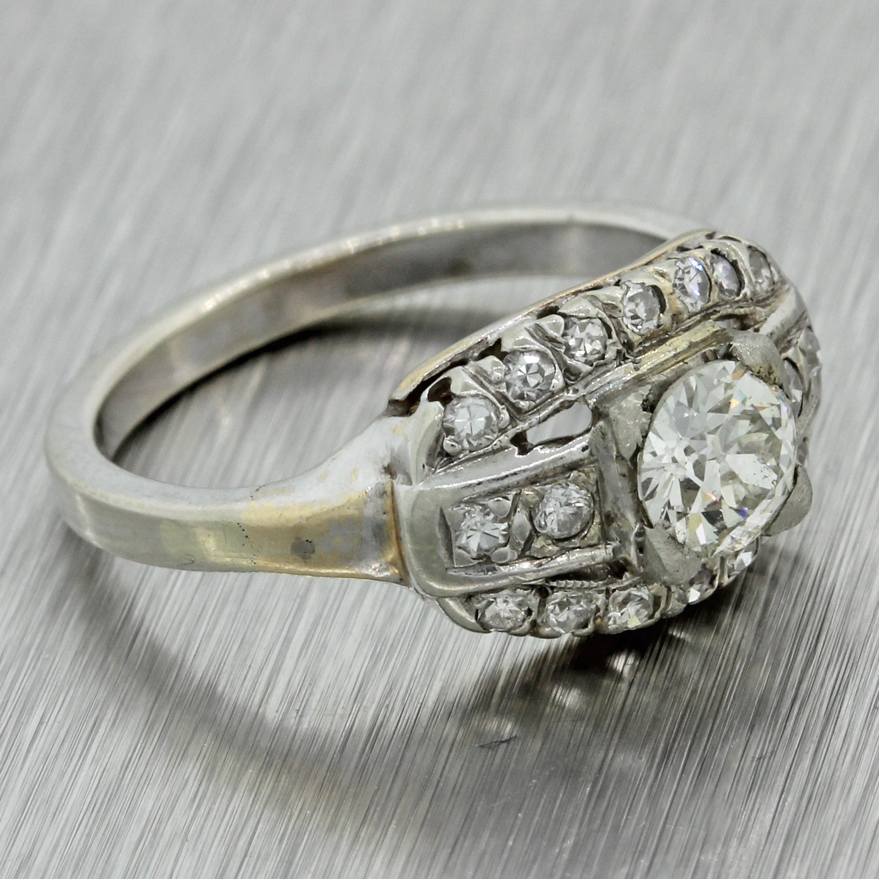1930s Antique Art Deco 14k Solid White Gold .45ct Diamond Cluster Ring EGL