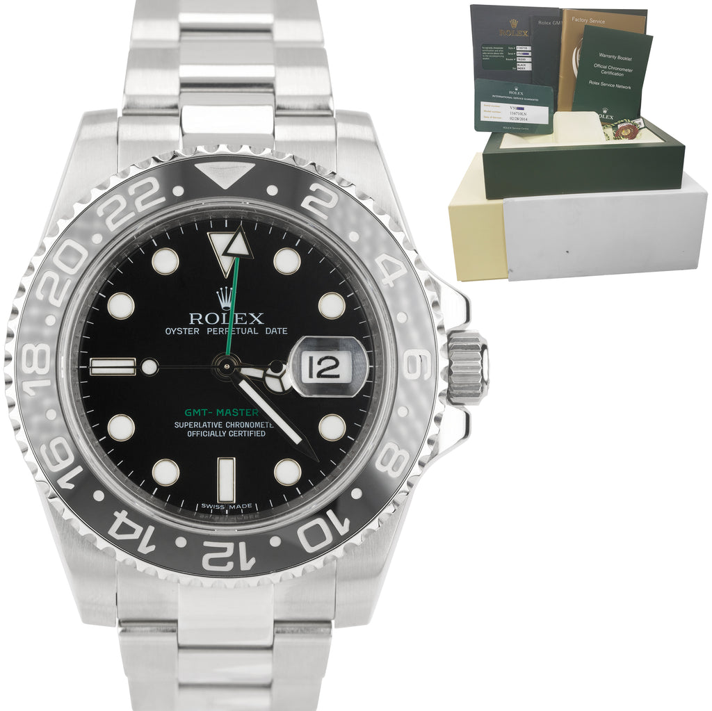 2014 RSC Rolex GMT-Master II Stainless Black 40mm Ceramic Date Watch 116710 LN