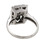 Ladies Antique Art Deco 14K White Gold 0.18ctw Diamond Filigree Cocktail Ring