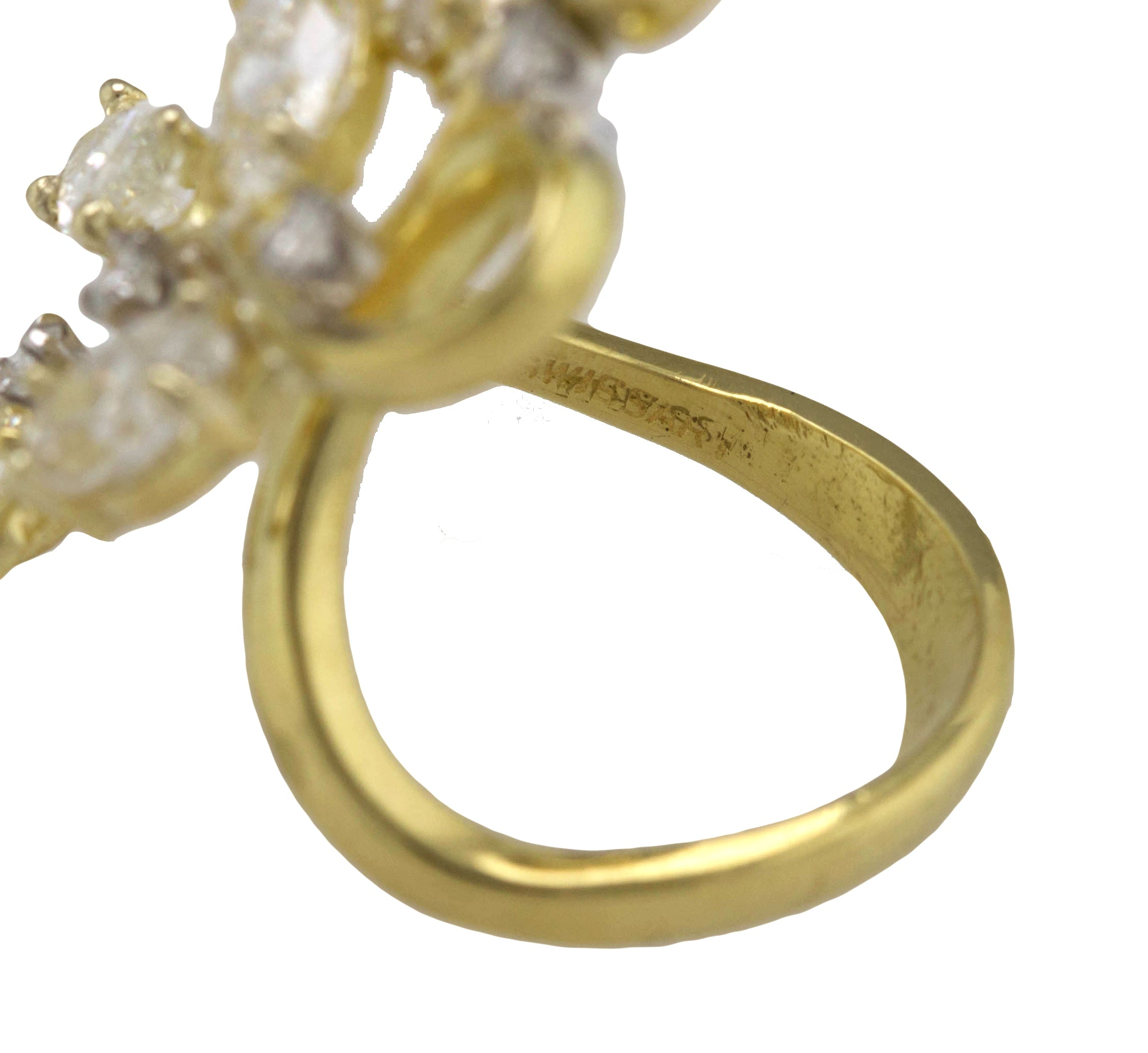 Ladies Modernist 18K Yellow Gold 4.47ctw Marquise Diamond Abstract Cocktail Ring