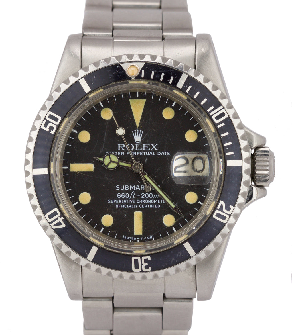 Vintage 1979 Rolex Submariner Date YELLOW PATINA 1680 Matte Black Dive Watch