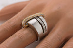 Ladies Retro Modernist 18K White Yellow Gold Two-Tone 0.96ctw Diamond Ring
