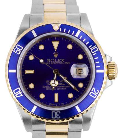Rolex Submariner 16613 Two-Tone Stainless Gold Blue Swiss Date Dive 40mm Watch