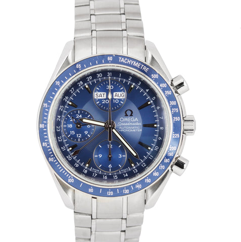 Omega Speedmaster Chronograph Day Date 3212.80 40mm Blue Stainless Steel Watch