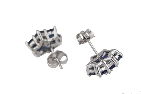 Women's EFFY 14K White Gold 0.06ctw Diamond & Blue Sapphire Flower Stud Earrings