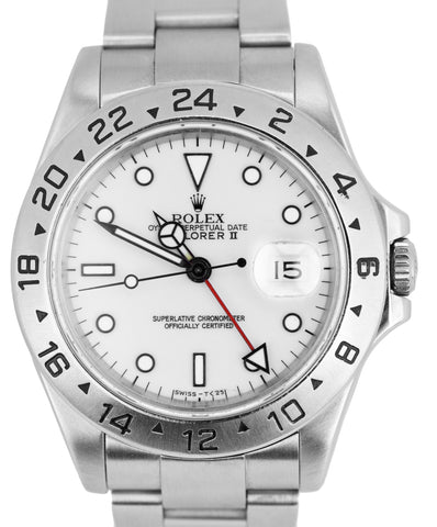 Rolex Explorer II 16570 Stainless Polar White Swiss Date GMT 40mm SEL Watch