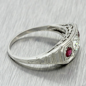1930s Antique Art Deco Solid Platinum .36ct Diamond .28ctw Ruby Ring EGL