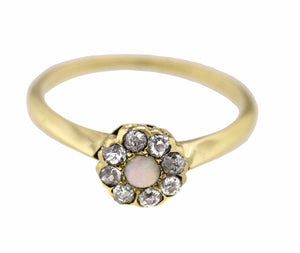 Ladies Dainty 14K Yellow Gold 0.24ctw Rose Cut Diamond Opal Flower Ring