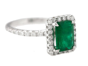 Lovely Ladies 14K White Gold 1.79 CT Emerald Diamond Halo Cocktail Ring