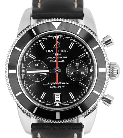 Breitling SuperOcean Heritage Stainless Black Chronograph A23370 44mm Watch