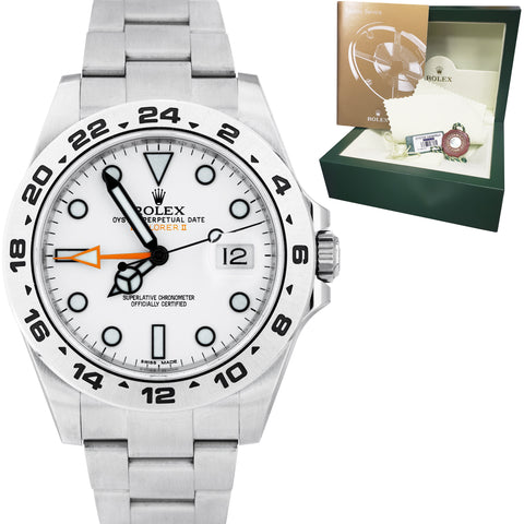 Rolex Explorer II Orange POLAR WHITE Stainless Steel 42mm GMT Date Watch 216570