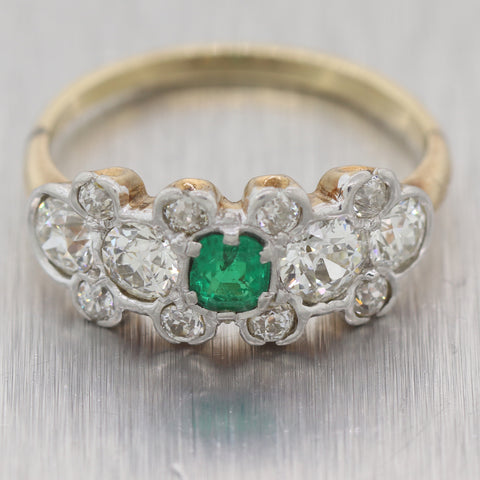 1890's Antique Victorian 14k Yellow Gold 1.85ctw Diamond & Emerald Wedding Band