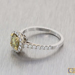 Modern 18k White Gold 1.45ctw Fancy Yellow Diamond Halo Engagement Ring A8